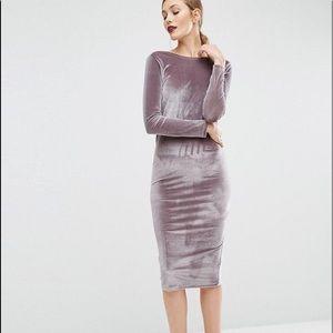 ASOS velvet wrap back midi dress